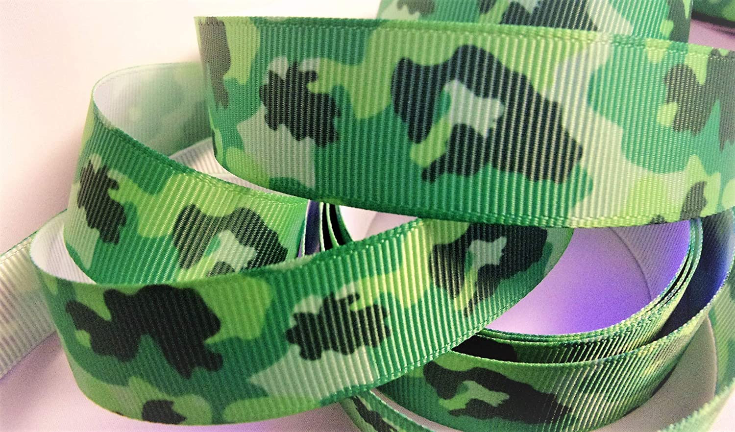 Grosgrain Ribbon - Emerald Green Camouflage - 1