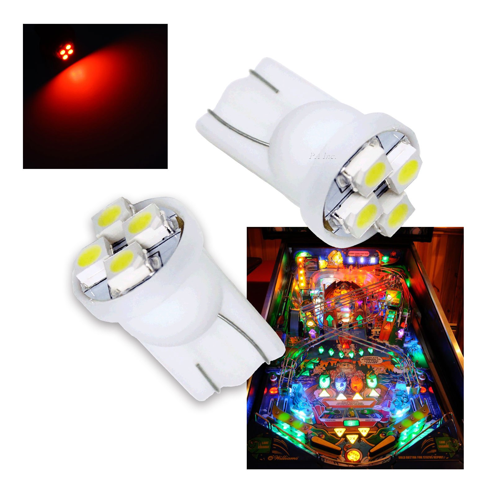 PA® 10PCS #555 T10 4SMD LED Pinball Machine Light Bulb Red-6.3V by Per-Accurate Inc.