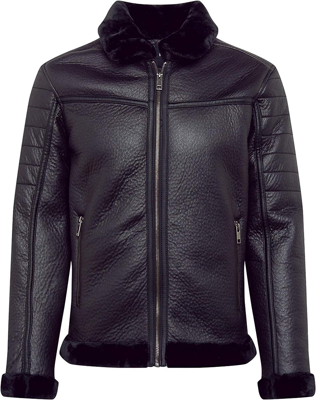 Mens Faux Suede Aviator Jacket Brave Soul Coat DALLAS Zip Warm Lined Fashion New