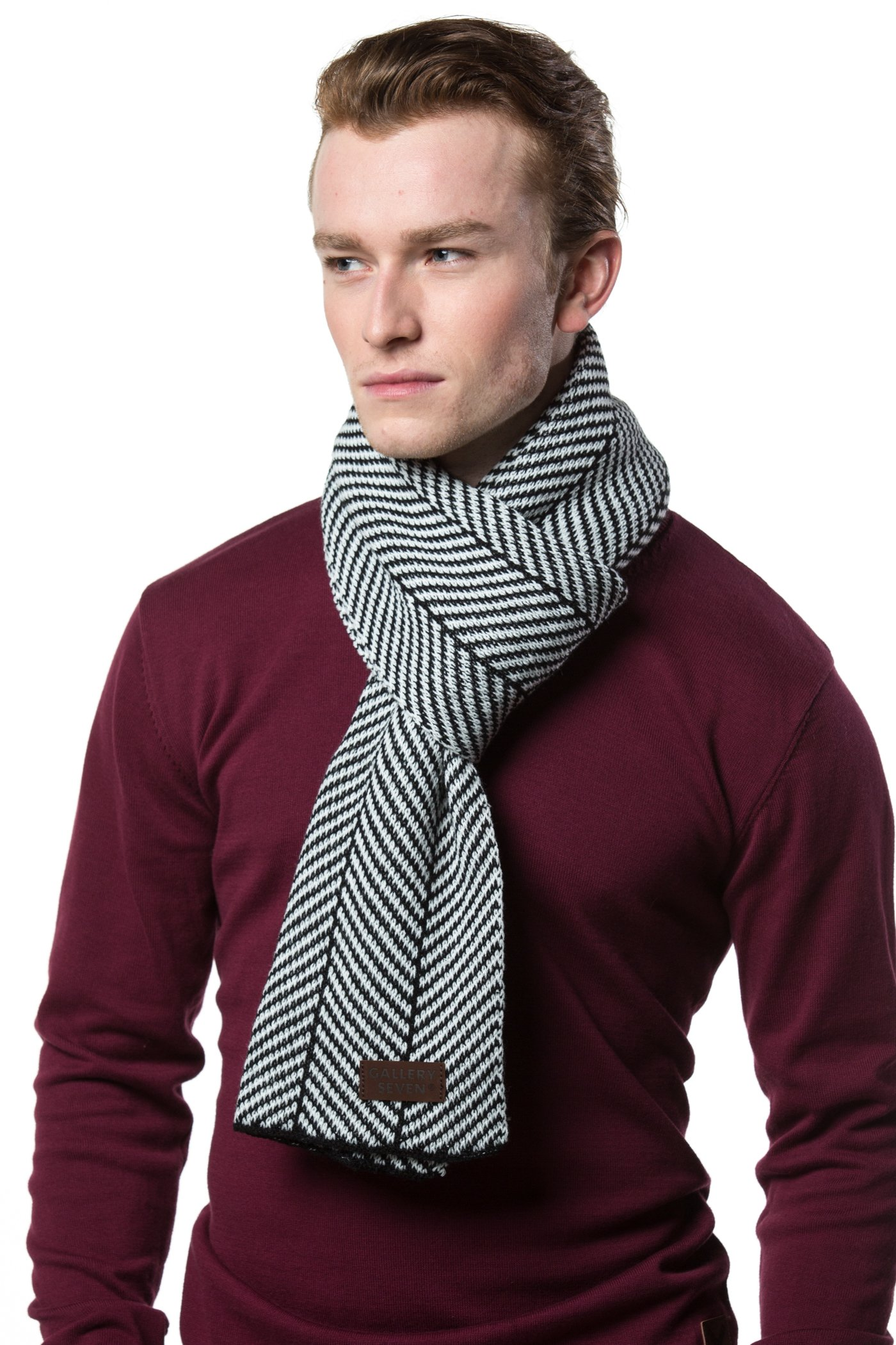 Gallery Seven Winter Scarf for Men, Soft Knit Scarve, in an Elegant Gift Box - Black/White