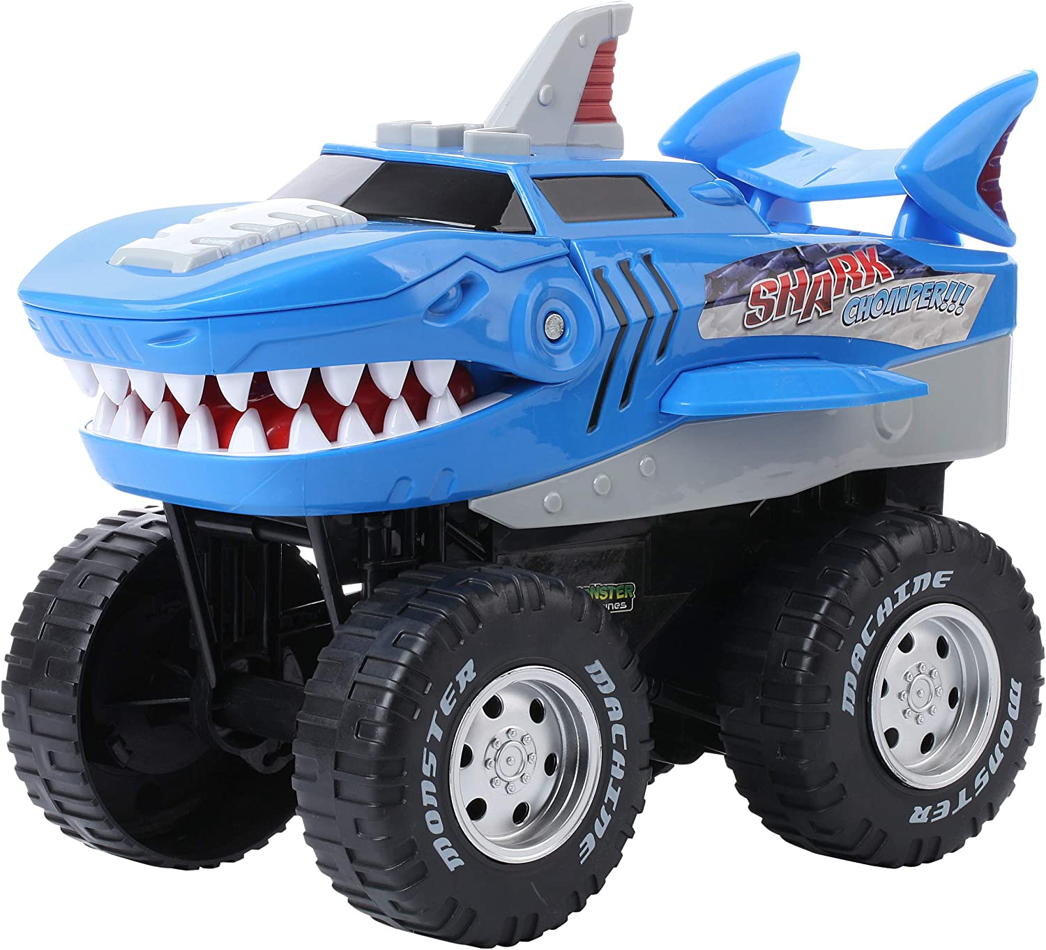 Amazon Com Powerful Shark Chomper Monster Truck Battery Powered Shark Car Lights Up With Revving Engine Sounds And Pops Wheelies Great Gift For Boys And Girls Ages 3 Toys Games