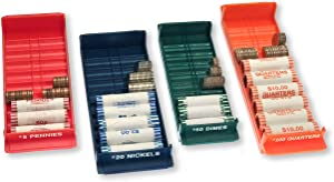Nadex Rolled Coin Storage Organizer Tray Set with Ridges for Loose Coins | Quarters, Dimes, Nickles, and Penny Color Coded Trays