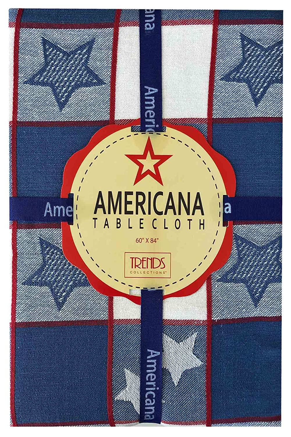 70 Round 70 Round Americana Patriotic Star and Stripes Cotton Jacquard Weave Fabric Tablecloth White and Blue Heavy Weight Tablecloth by Lintex Festive Red