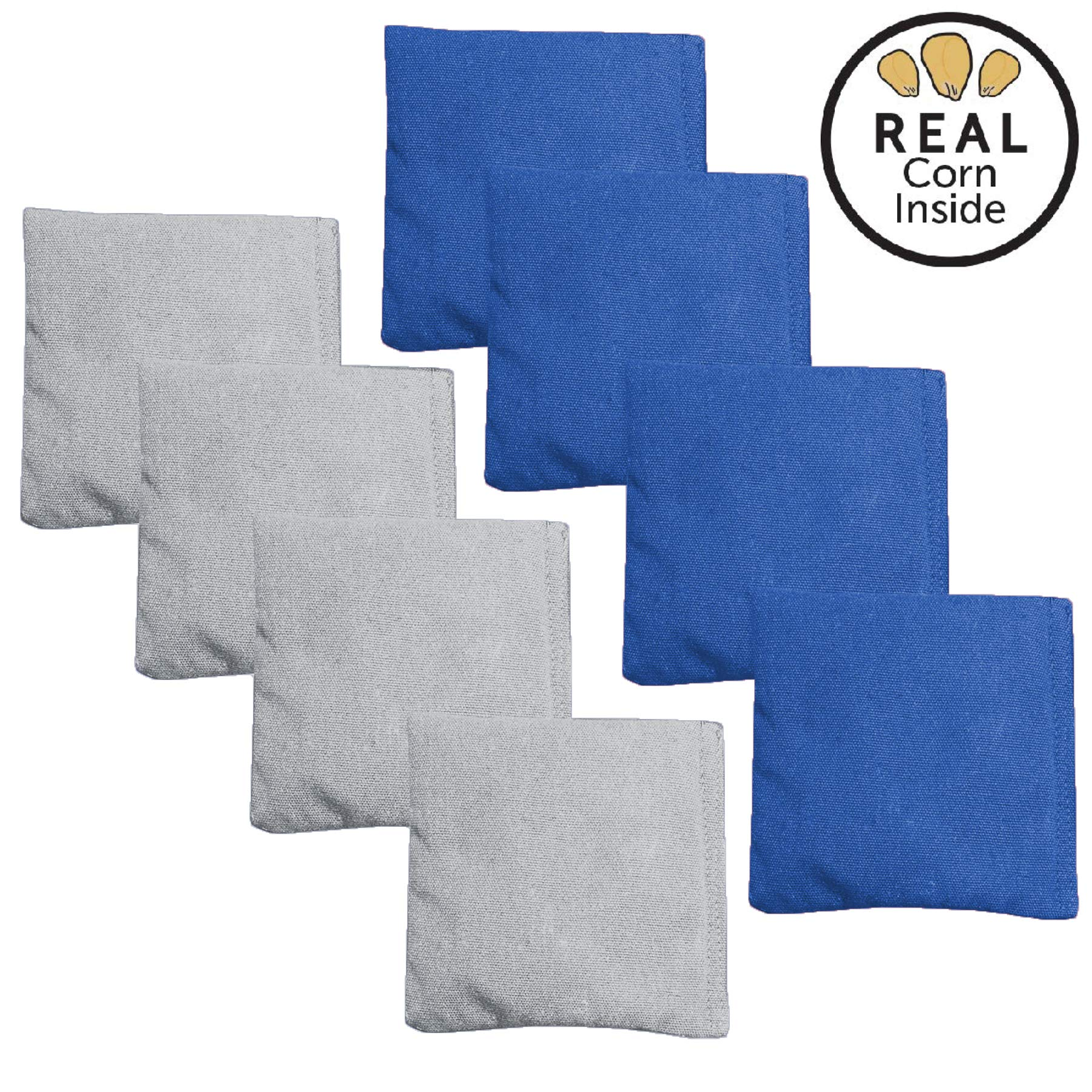 Corn Filled Cornhole Bags - Set of 8 Bean Bags for Corn Hole Game - Regulation Size & Weight - Blue & Gray by Play Platoon