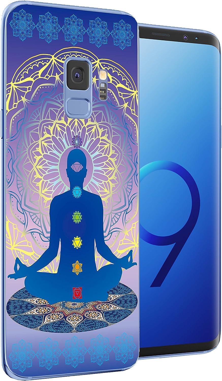 Compatible for Samsung Galaxy S9 Phone Case Cocomong Cute Charkras Yoga Design Flexible TPU Protective Cover for Samsung Galaxy s9 Gift for Women Girls Men Anti-Drop-Scratch Shockproof Bumper