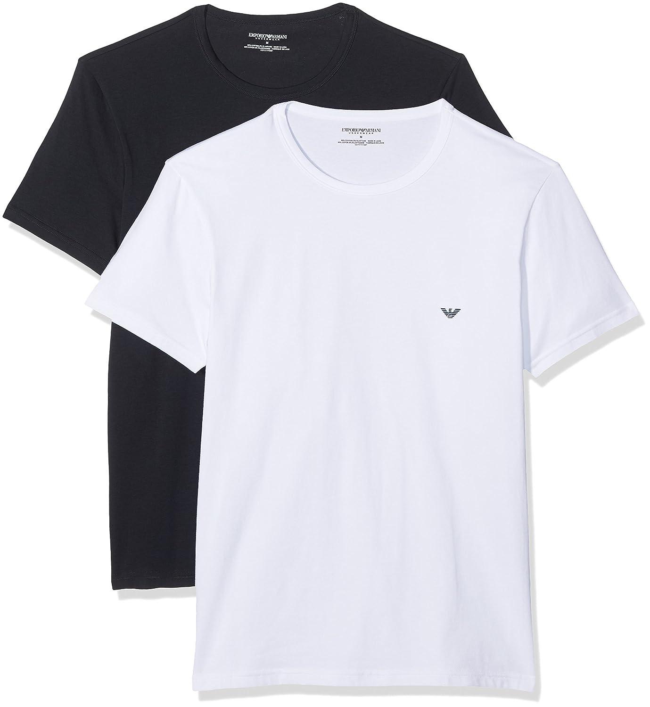 c80acd918 Emporio Armani Men's 2 Pack Stretch Cotton T-Shirt, White at Amazon Men's  Clothing store: