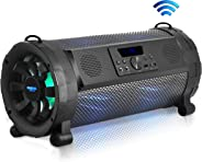 Pyle Bluetooth Boombox Street Blaster Stereo Speaker - Portable Wireless 300 Watt Power FM Radio / MP3 System w/ Remote, LED