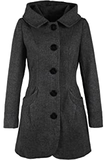 Damen wollmantel wolljacke cootic mit kapuze