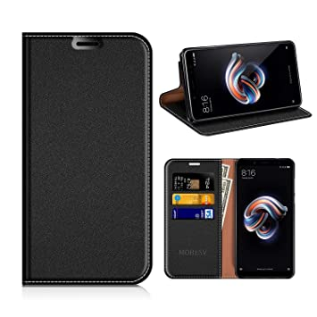 MOBESV Funda Cartera Xiaomi Redmi Note 5, Funda Cuero Movil Xiaomi Redmi Note 5 Carcasa Case con Billetera/Soporte para Xiaomi Redmi Note 5 - Negro