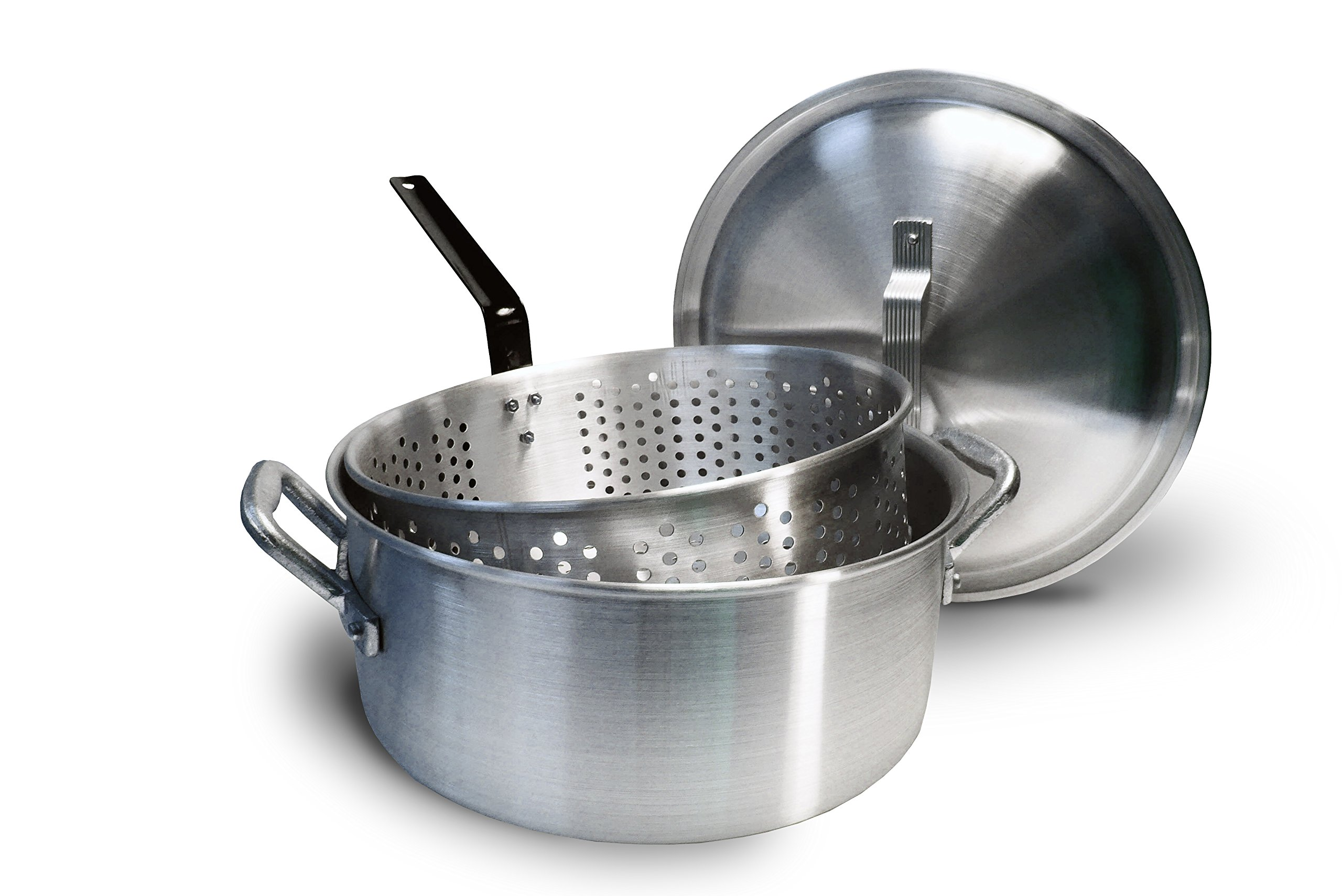 Bayou Classic 14 Quart Aluminum Fry Pot, Lid, and Basket by Bayou Classic