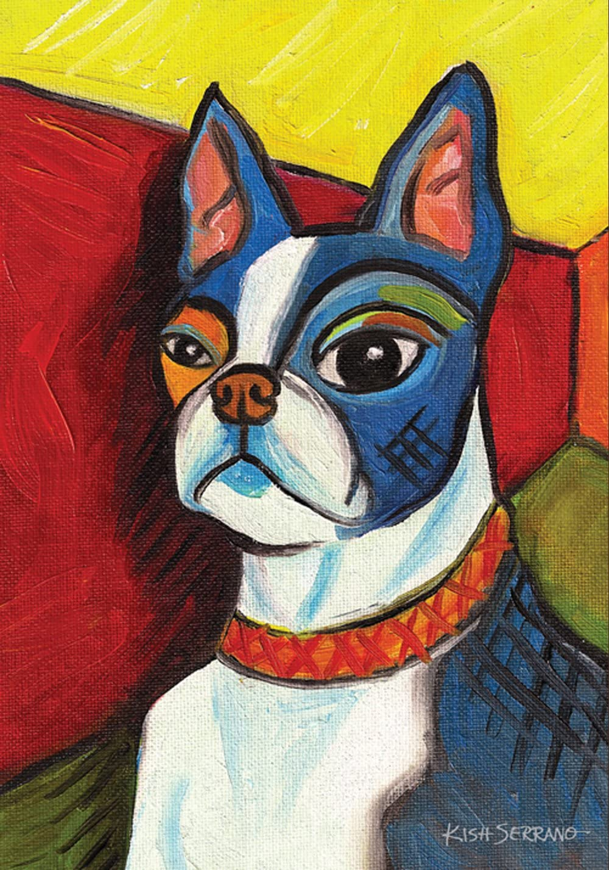 Toland Home Garden Pawcasso Boston Terrier 28 x 40 Inch Decorative Puppy Dog Portrait House Flag