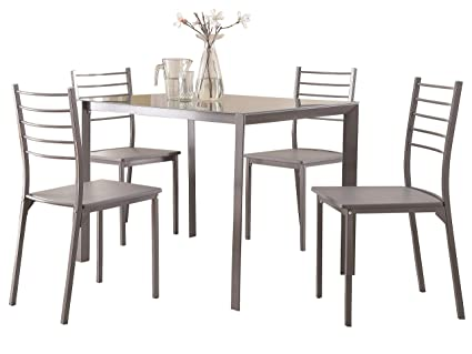 Amazon.com - Coaster 100027 5 Piece Glass Top Dining Table And Chair ...
