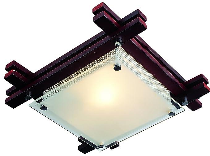 Plafoniere Per Soggiorno Classico : Plafoniera Ø cm in legno wengé copertura vetro lampada da