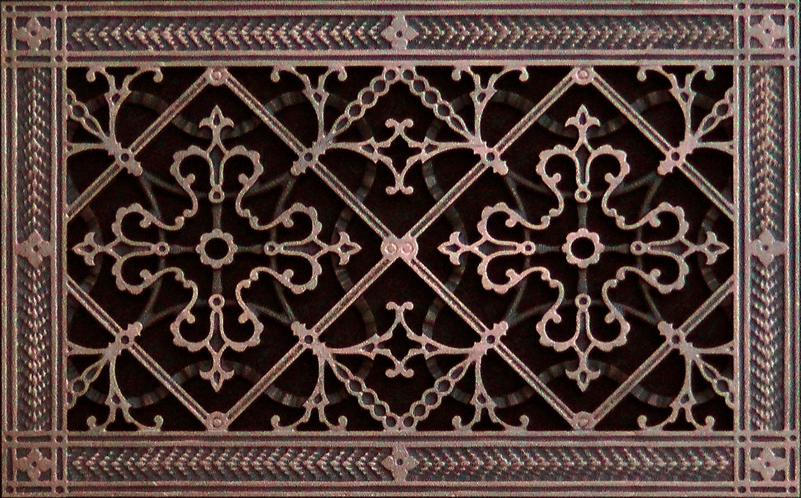 Decorative Grille, Vent Cover, or Return Register. Made of Urethane Resin to fit over a 8''x14'' duct or opening. Total size of vent is 10''x16''x3/8'', for wall and ceiling grilles (not for floor use).