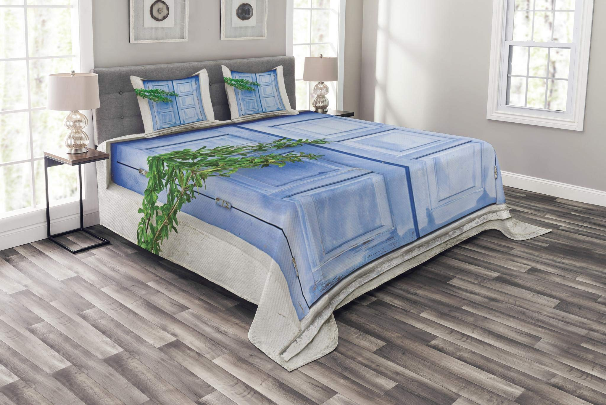 Lunarable Country Bedspread Set Queen Size, Mediterranean Window Shutters with Tree Print Heritage Greek Island Image, Decorative Quilted 3 Piece Coverlet Set with 2 Pillow Shams, Turquoise White