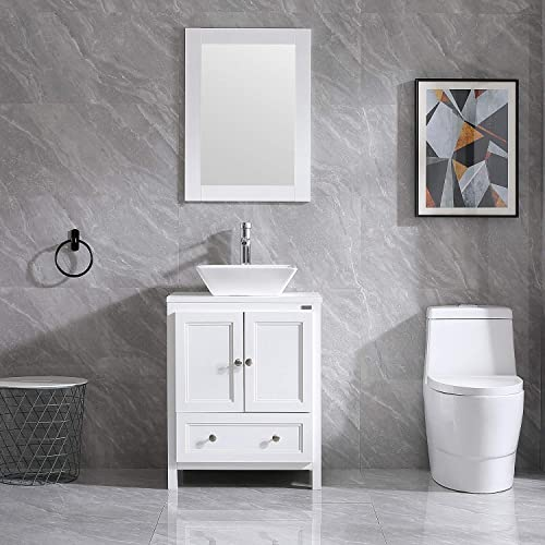 Wonline 24 White Bathroom Vanity Wood Cabinet Square Sink Combo Top Ceramic Vessel Sink Chrome Faucet Drain