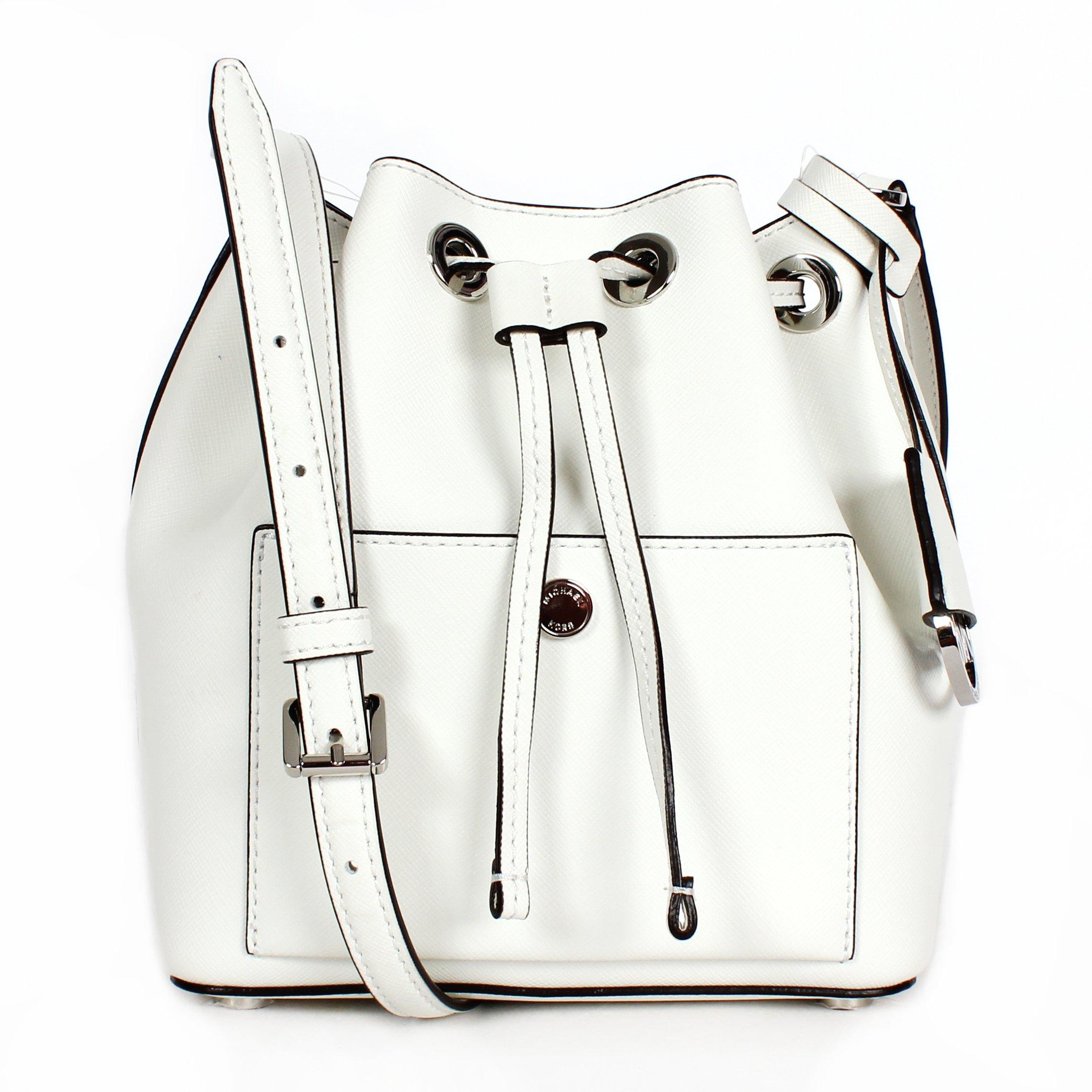 MICHAEL Michael Kors Womens Greenwich Small Bucket Bag (Optic White/Navy/Gold)