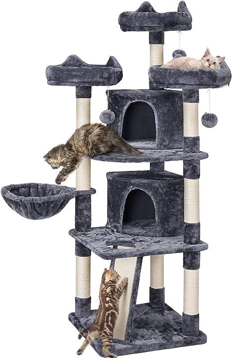 Yaheetech Árbol Grande para Gatos con 3 Plaraforma Torre para Gatos Rascador de Escalada para Mascota 174 cm