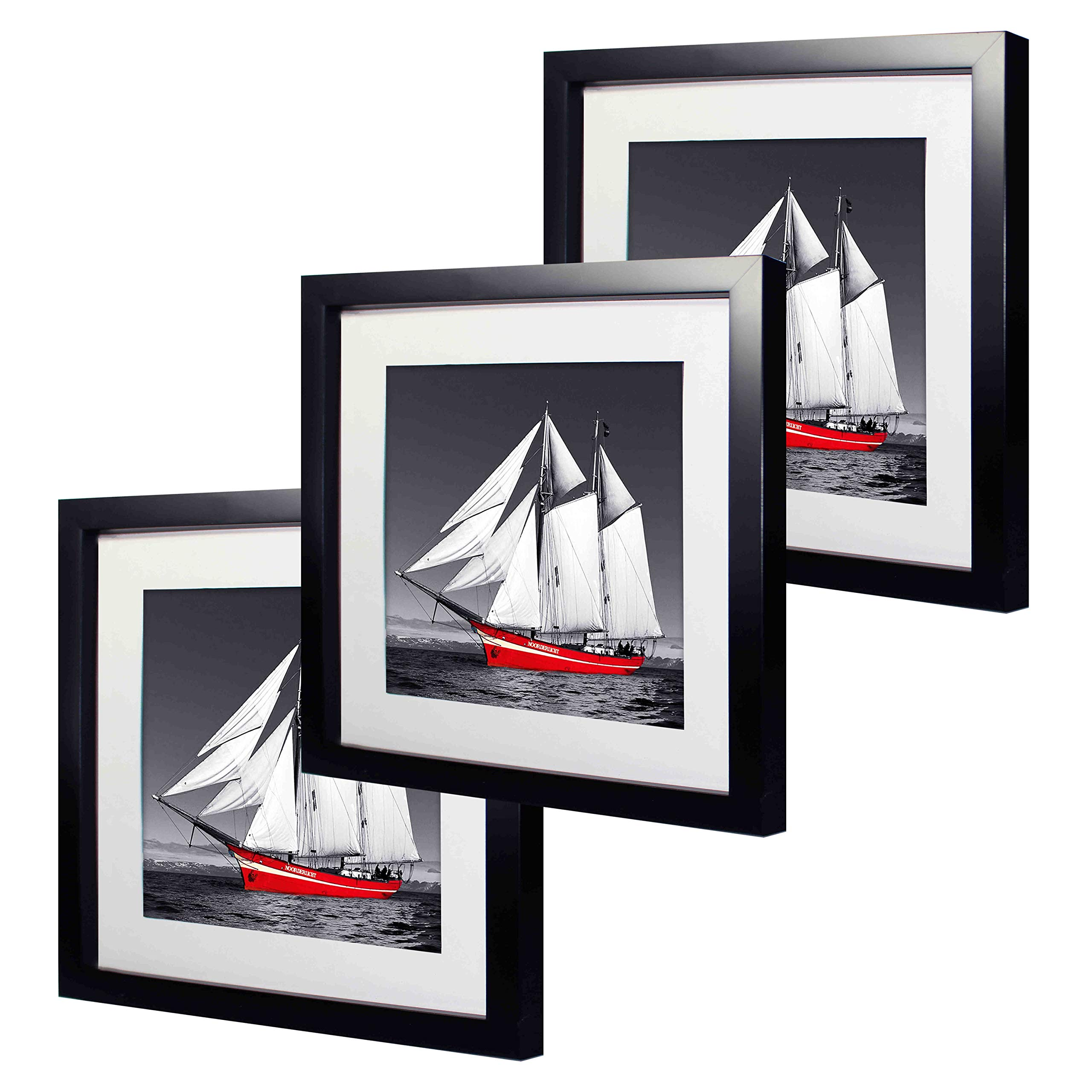 11 x 11 inch Black Picture Frame Made to Display Pictures 8x8 with Mat or 11x11 without Mat 3 Pack One Set for Wall & Tabletop Chirstmas Holiday Home Gift by Natural art