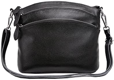 4f8556130d88 Amazon.com  Heshe Womens Leather Handbags Shoulder Bag Small Bags Designer  Handbag Crossbody Satchel and Purses for Ladies (Black)  Shoes