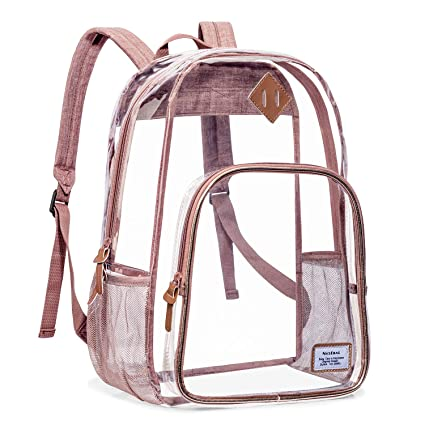 710db402f1e7 NiceEbag Clear Backpack Heavy Duty Clear Bookbag Large See Through Backpack  for Women and Men Stadium Approved Transparent Bag for College Work ...