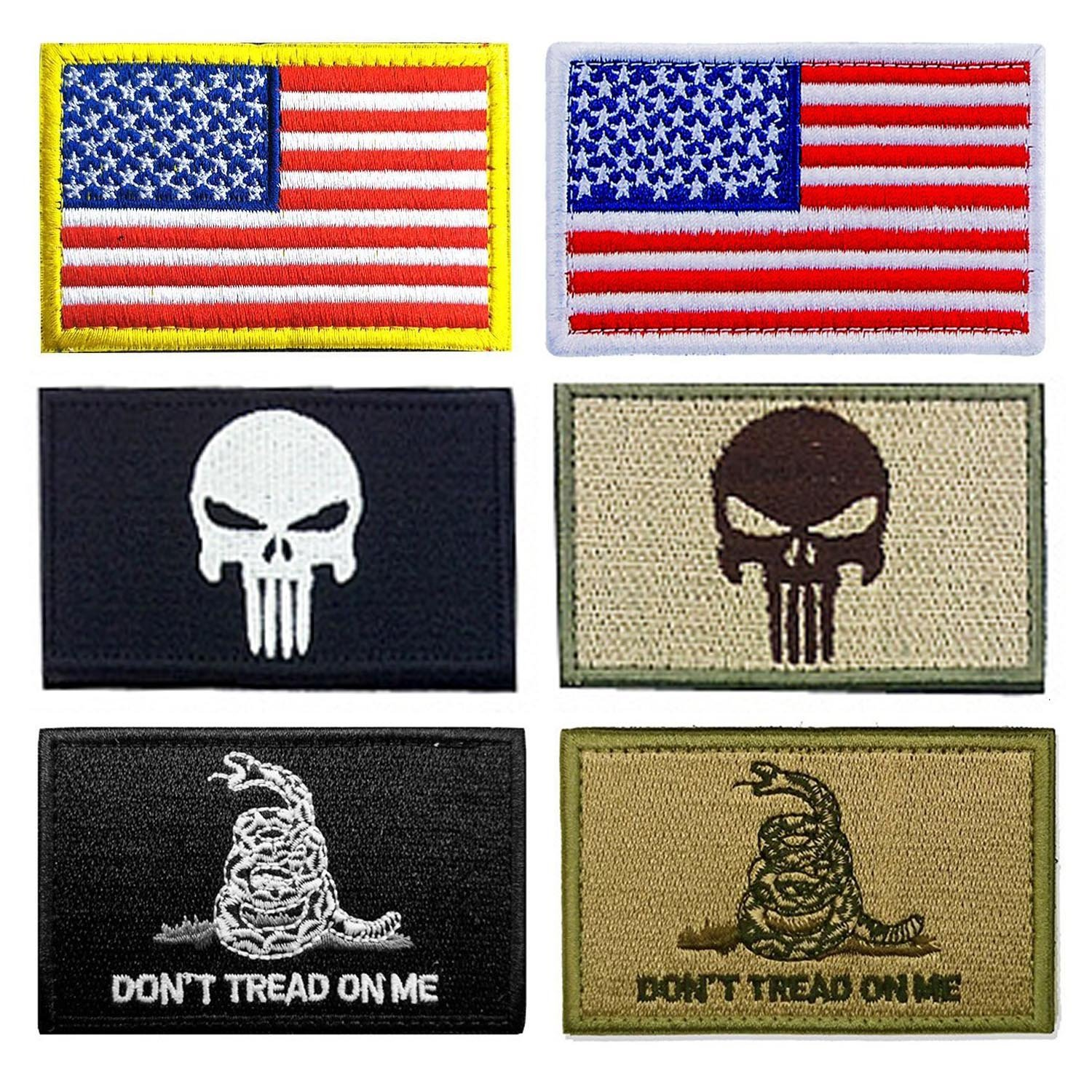 Neuleben 6 Pieces USA Tactical Flag Patch Thin Red Blue Multicolor Line American Tags Patch Neuleben Globle DG-5242