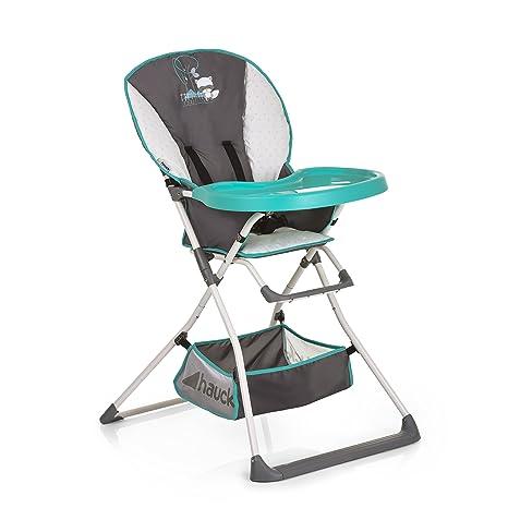 Hauck Mac Baby - Trona alta para bebes a partir de 6 meses a 15 kg, bandeja para comida con molde para vasos, plegado fácil, Forest Fun (gris ...