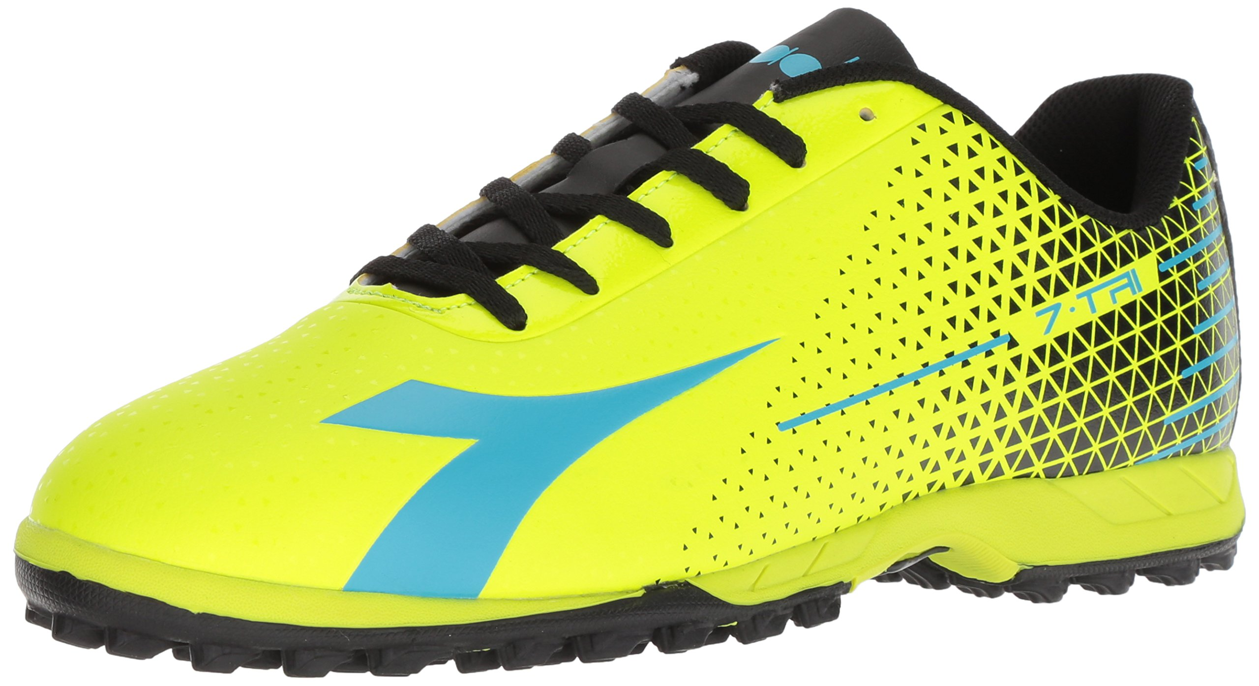 Diadora Soccer Men's 7-Tri TF, Flou Yellow/Flou Blue/Black, 9 Medium US