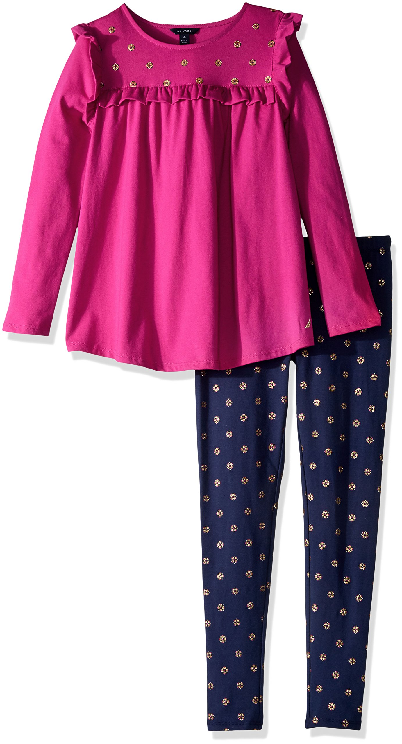Nautica Big Girls' Two Piece Long Sleeve Legging Sets, Dark Pink, 10