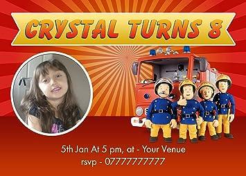 Personalised Fireman Sam Party Invitations Amazon Co Uk Toys Games
