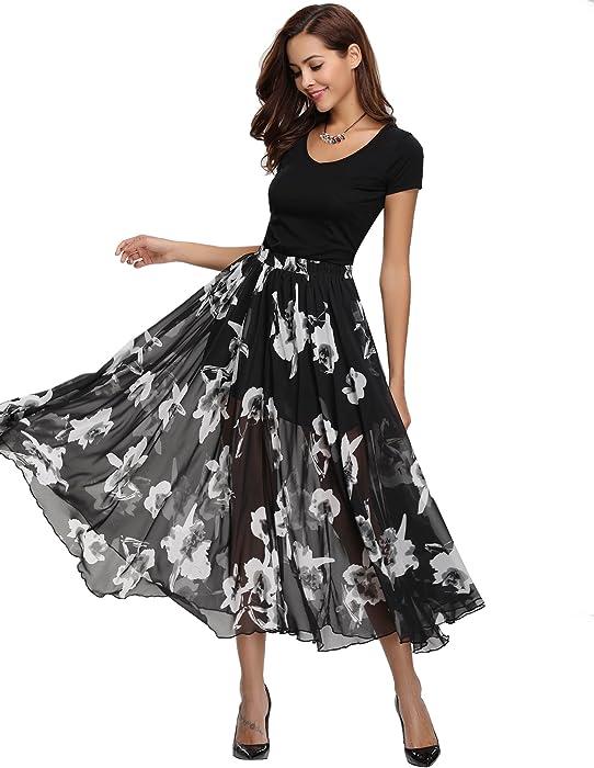 f401f2e9f1 Abollria Women Full/Ankle Length Blending Maxi Chiffon Long Skirt Beach  Skirt