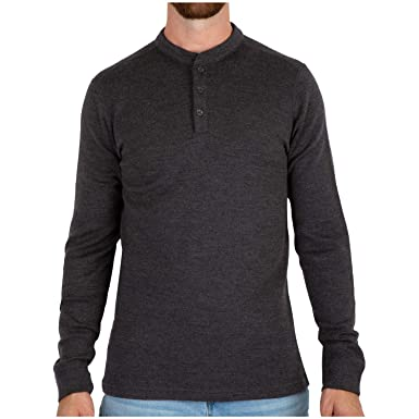 54494ef0 MERIWOOL Mens Merino Wool Heavyweight Thermal Henley Pullover Top - Small  Charcoal Gray