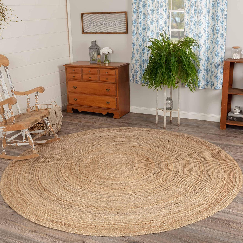 Coastal Farmhouse Flooring - Harlow Tan Round Jute Rug, 8' Diameter
