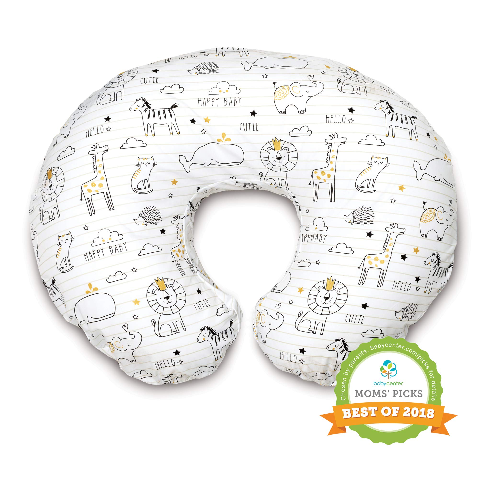 Boppy Original Nursing Pillow and Positioner, Notebook Black and Gold, Cotton Blend Fabric with allover fashion by Boppy