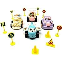 Akrobo Miniature Palm Sized Die Cast Friction Toys for Kids, Multicolour - Set of 4
