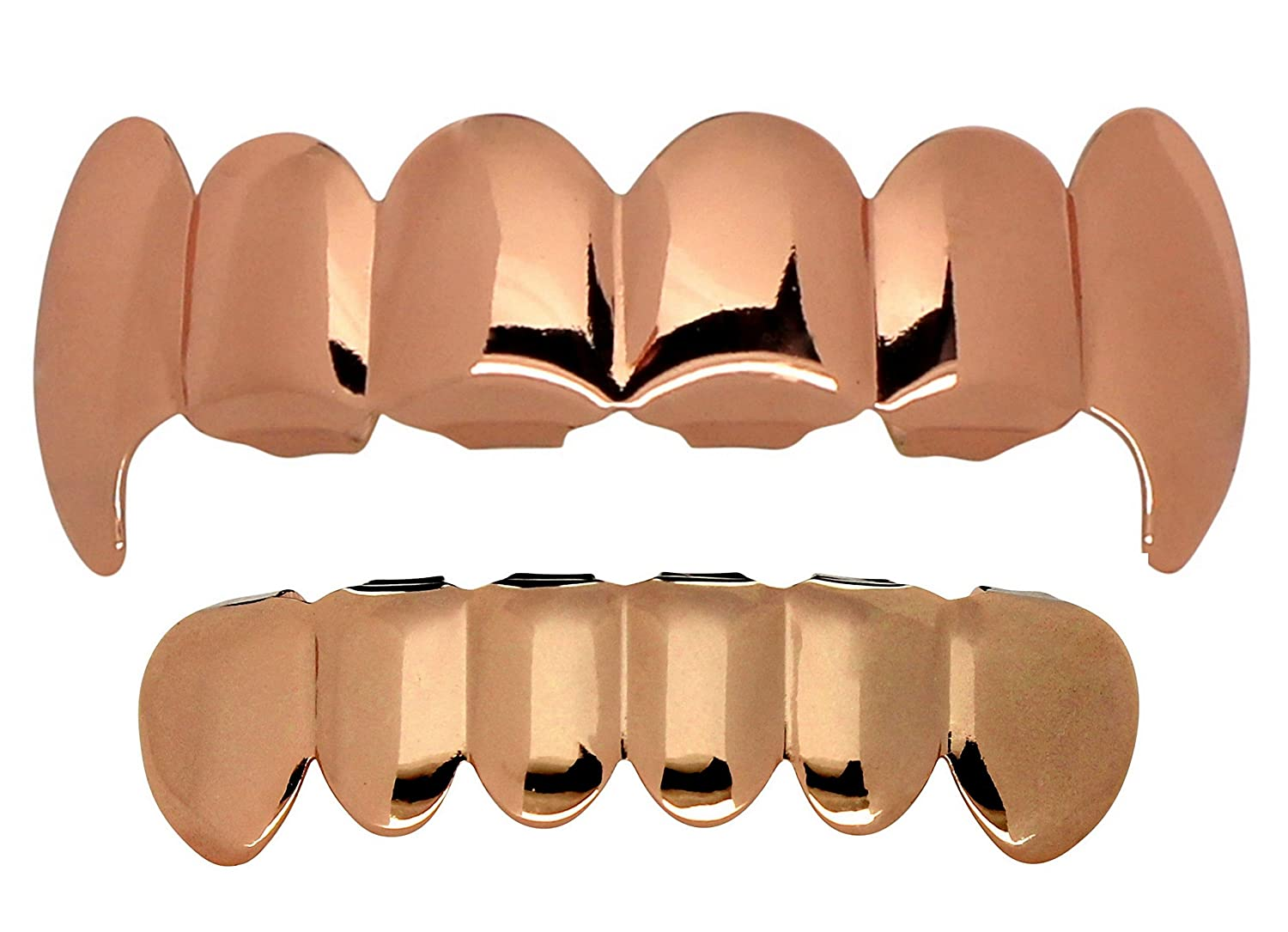 NewAgeBling Custom Fit Fang Rose Gold Plated HipHop Teeth Grillz Caps Top & Bottom Grill Set - 193