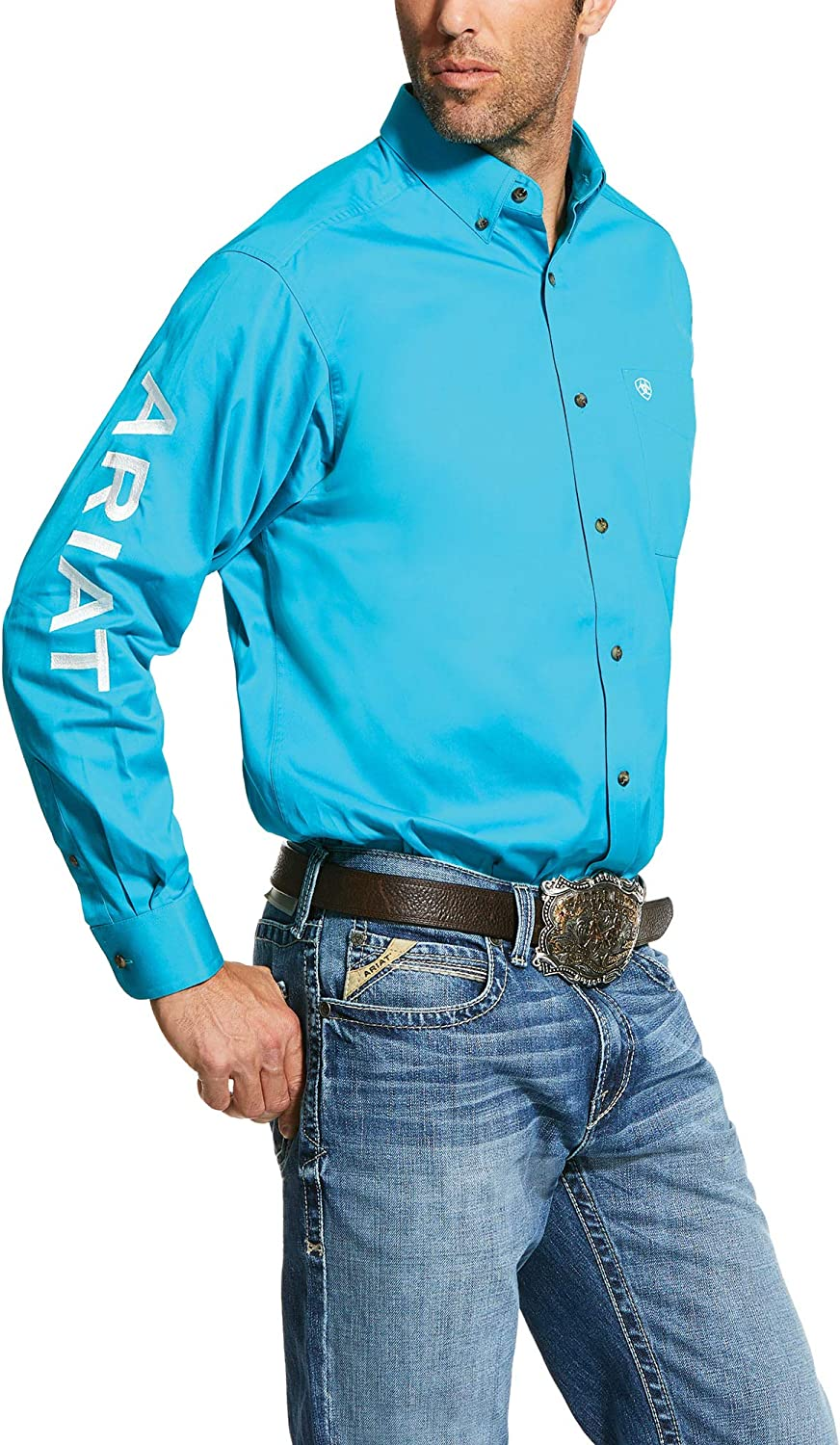 Ariat Men's Big and Tall Team Logo Long Sleeve Twill Shirt