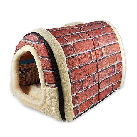 GTXYHPHUS 2 en 1 casa de mascotas y sofá, rojo ladrillos lavable a máquina, antideslizante, plegable, ...