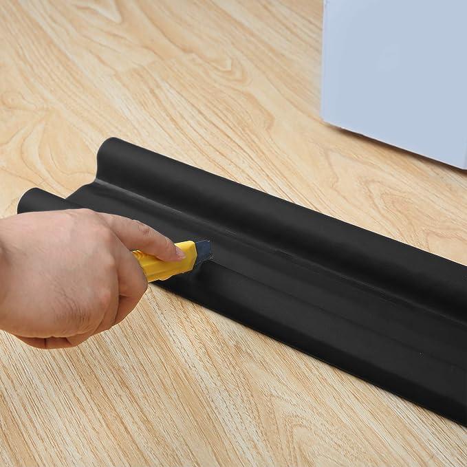 negro Junta acortable para sellar umbral de puertas 95 cm Toolerando Burlete aislante espuma bajo puerta 1 unidad