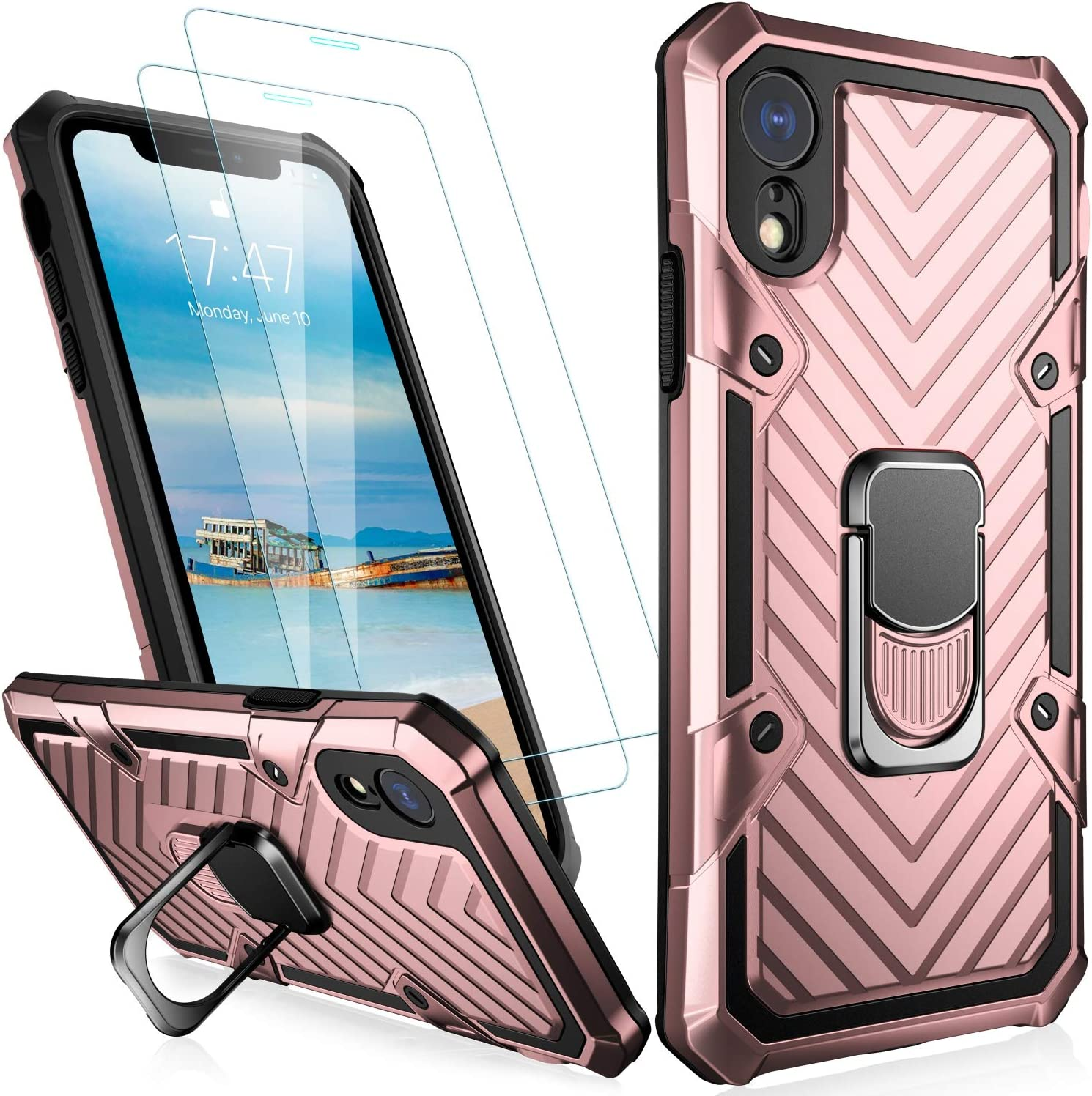 MERRO iPhone Xs Max Case with Screen Protector[2 Pack],Pass 16ft. Drop Tested Military Grade Heavy Duty Shockproof Cover with Kickstand,Protective Phone Case for Apple iPhone Xs Max Rose Gold