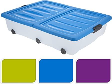 Attrayant PACK OF 2 55L LARGE UNDERBED PLASTIC WHEELED STORAGE BOX CONTAINER FOLDING  LID