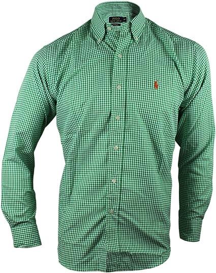 Ralph Lauren Custom Fit Cuadros Camisas para Hombres (XX-Large, Verde/Blanco): Amazon.es: Ropa y accesorios