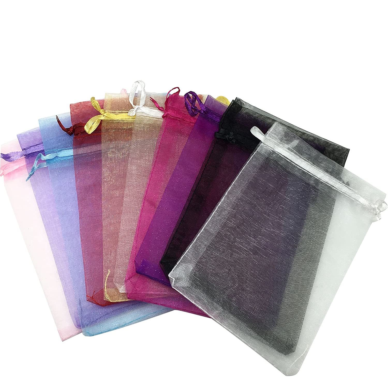 SOSAM 100 Organza Mixed Colors Jewelry Pouch Bags Display (4 X 5 Inches) IS09