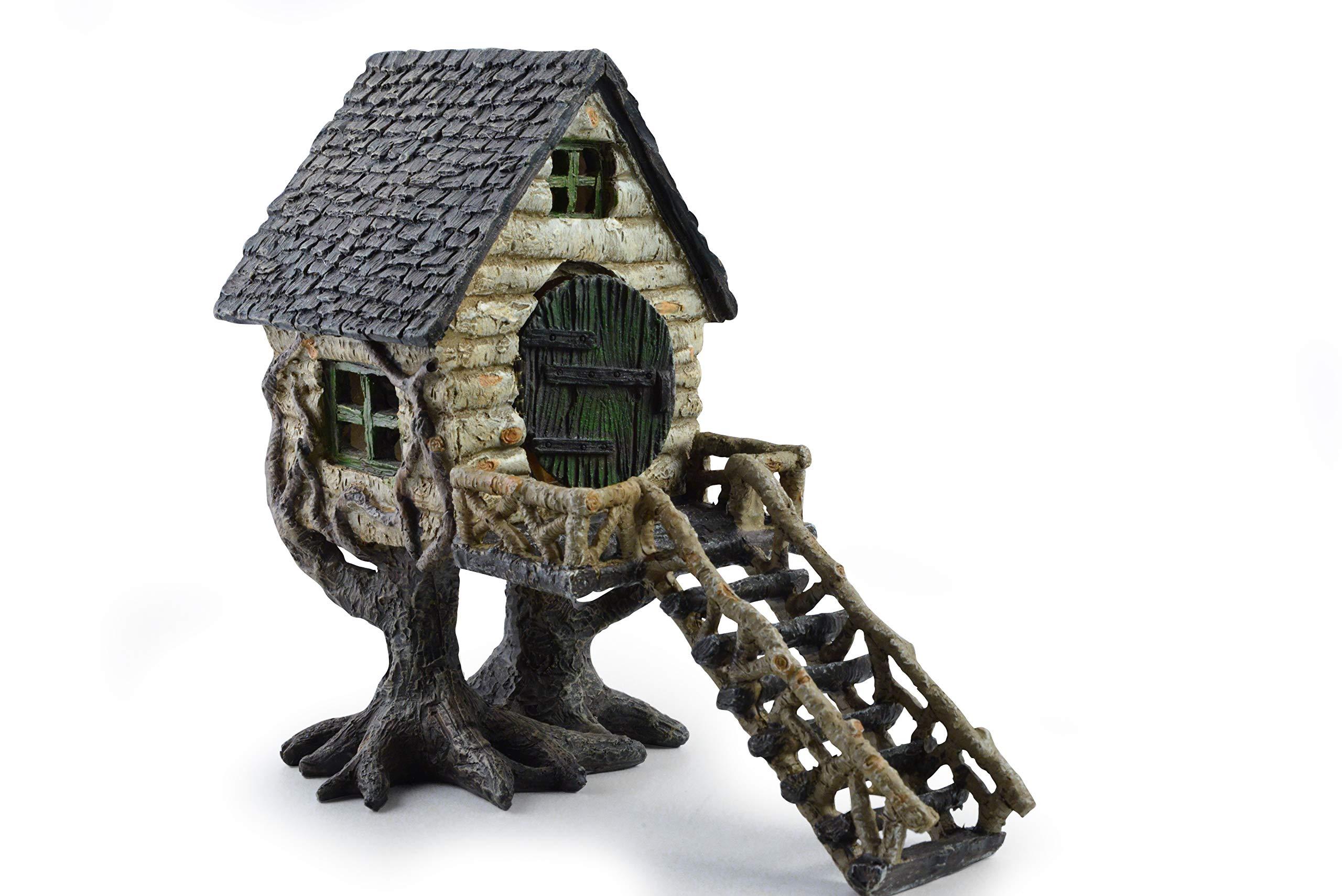 Miniature Fairy House Statue - Garden Décor Accessories Home for Fairies (River Birch Tree House)