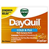 Vicks DayQuil Cold and Flu Multi-Symptom Relief, 24 LiquiCaps (Non-Drowsy) - Sore Throat, Fever, and Congestion Relief (Packaging May Vary)