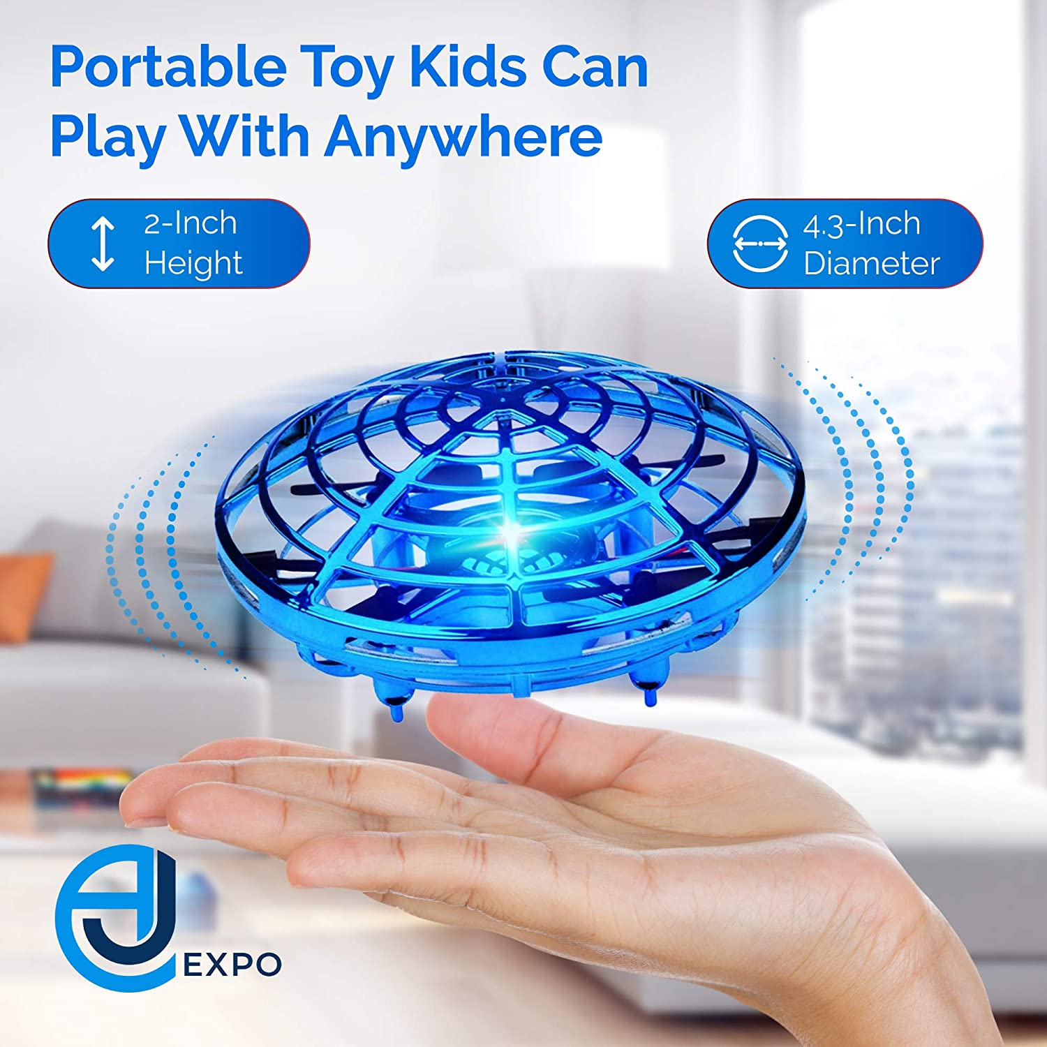 UFO Mini Drone with Upgraded Sensors AJ Expo Hand Operated Drone for Kids Long Lasting Rechargeable Battery /& LED Lights Blue Flexible Caged Quadcopter Provides Safe Fun Indoors /& Outdoors