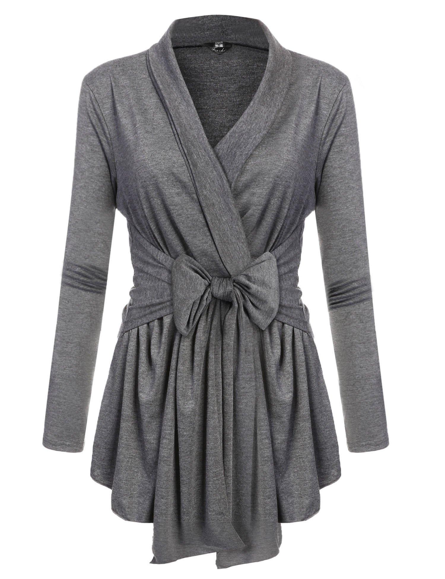 Henwei Womens Open Front Classic Knit Travel Sweater Cardigan Dark Grey S