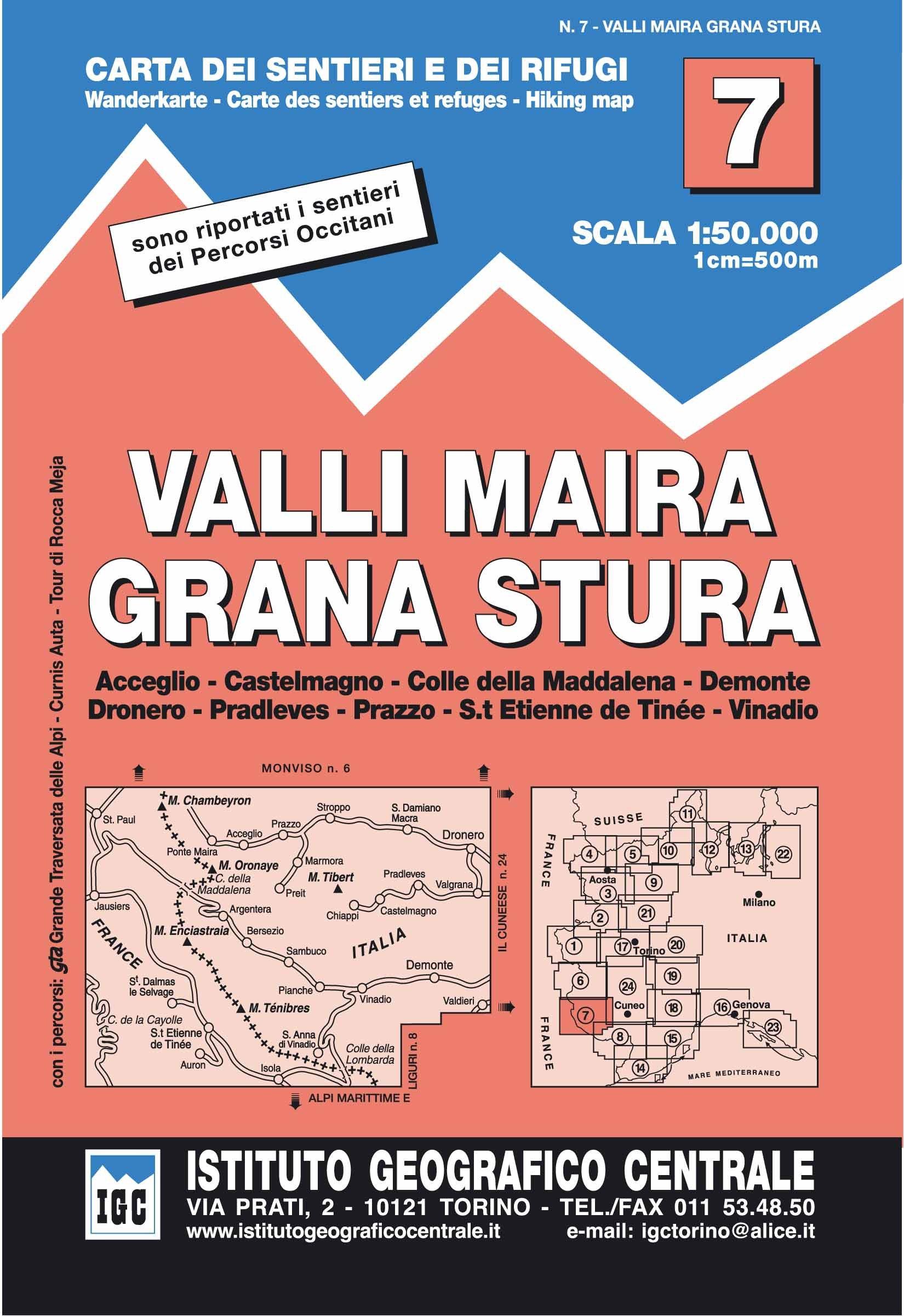 IGC Italien 1 : 50 000 Wanderkarte 7 Maira Grana Stura
