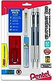 Pentel GraphGear 500 Automatic Pencil Kit, 0.7mm, Refill Leads, Block Eraser 2 Pack (PG527LEBP2)