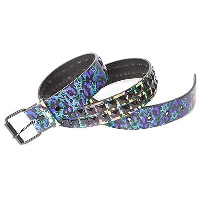 Accessoryo - multicolore imprimé léopard et star ceinture de mélange imprimée avec 2 rangées boutons noirs (taille unique: 110cm)